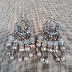 Chandelier earrings in pink, white and silver